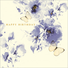 FP5141 Blue Flowers and Butterflies Birthday
