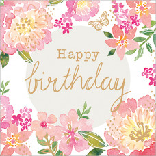 FP6140 Happy Birthday Pink Floral
