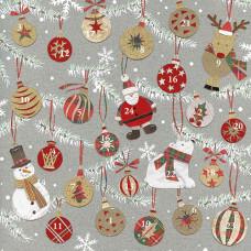 XAC08 Christmas Baubles Advent Card