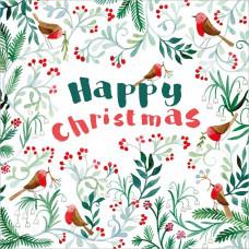 XC143 Happy Christmas Robins (Pk 8)