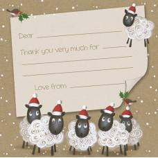 XN009 Christmas Sheep Thank You Notecard (Single)