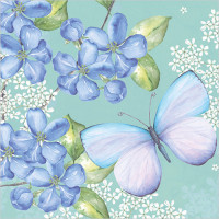 WS454 Blue Blossoms and Butterfly