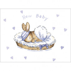 B031 New Baby Bunny (Blue) Gift Card