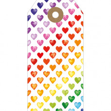 GT034 Rainbow Hearts Gift Tag