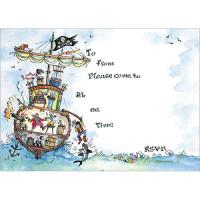 IV26 Pirate Ship Invitations (pk 10)