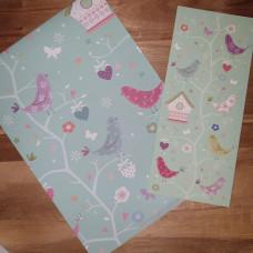 CGW002 Birds & Birdhouses Card & Gift Wrap Set
