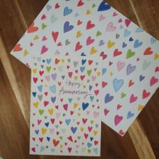 CGW003 Anniversary Hearts Card & Gift Wrap Set