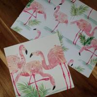 CGW004 Pink Flamingos Card & Gift Wrap Set