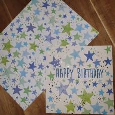 CGW006 Blue Stars Card & Gift Wrap Set